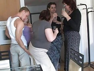 two by two desperate ladies seduced beautiful lad