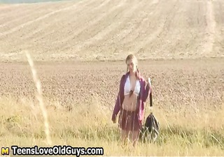 teen girl on a hike outdoor undresses fully part11