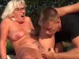grandma gangbangs more amateur boy outside